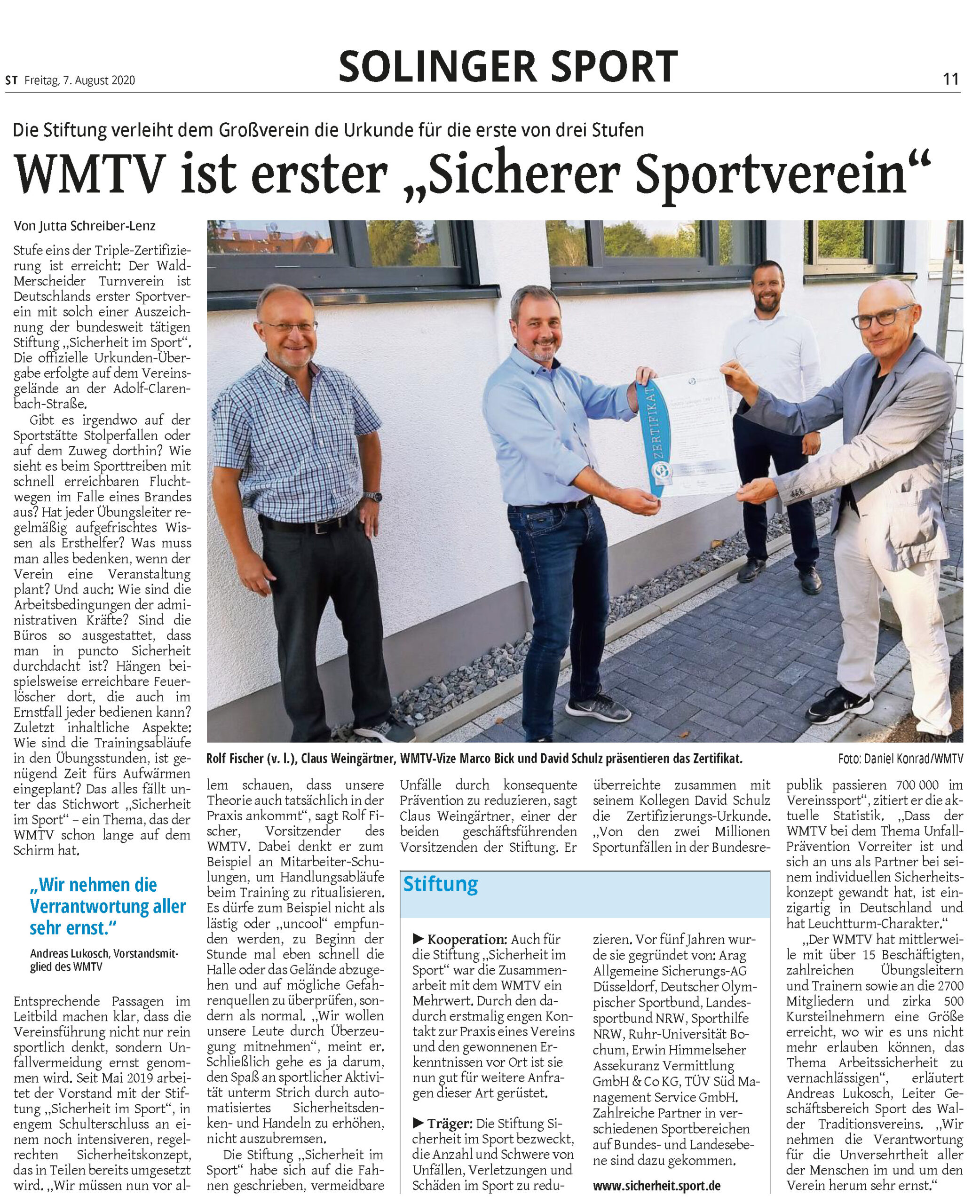 """WMTV Solingen erhält als erster Verein das Zertifikat """"Sicherer Sportverein"""""""